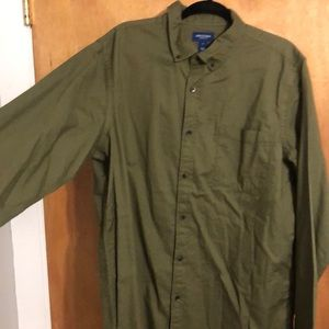Army green button down shirt